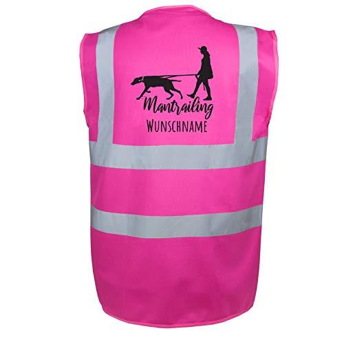 Mantrailing Hundesport Warnweste Sicherheitsweste mit Namen oder Text personalisiert (Motiv 7) (M, Pink)