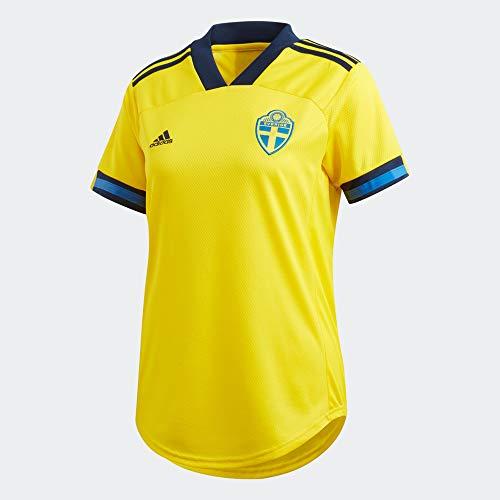 adidas SvFF W H JSY, T-Shirt Donna, Yellow/Night Indigo, 2XS