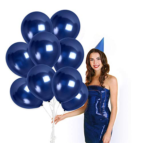 Navy Blue Balloons 100 Pack - Dark Blue Balloons - Midnight Blue Metallic Balloons 12 Inch Birthday Garland Baby Shower Party Bachelorette Engagement Wedding Carnival Party Graduation Decorations