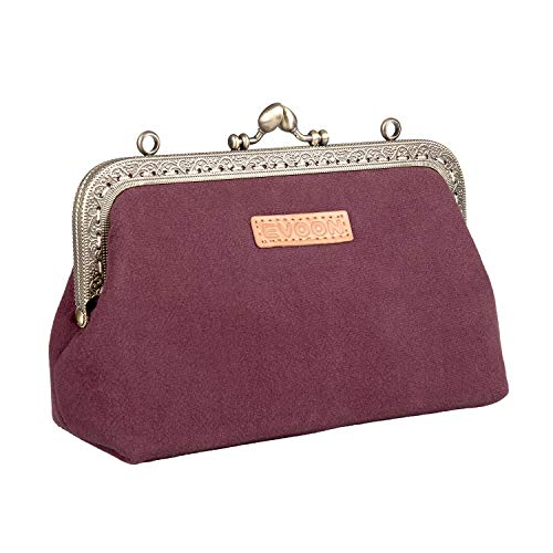Womens Portable 10 Bottles Essential Oils Carrying Cases Small Travel Cosmetic Makeup Bags Pouch Purses Clutch handbag for Ladies (Maroon)
