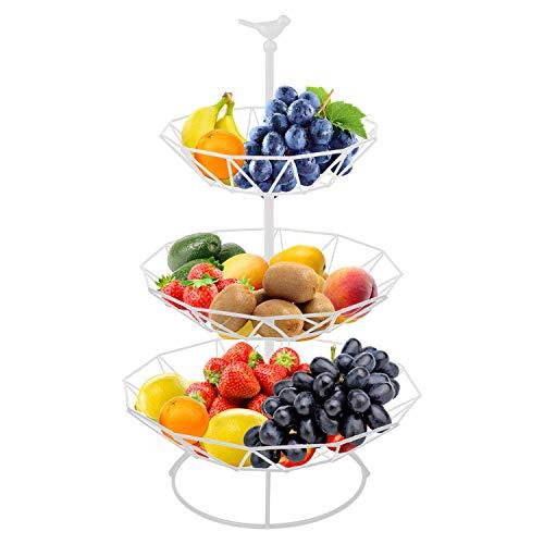 Hossejoy Frutero de 3 niveles, cesta para servir frutas y aperitivos, perfecto para frutas, verduras, aperitivos, artículos del hogar y mucho más (blanco)