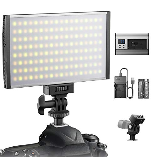 ESDDI Faretto a led fotografico, Video Luce, dimmerabile 3200-5600K regolabile, CRI 95, con batteria e caricabatteria, aretto montatura fotocamera, per interni ed esterni