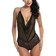 Avidlove Women Sexy Lingerie Teddy One Piece Lace Halter Babydoll Bodysuit