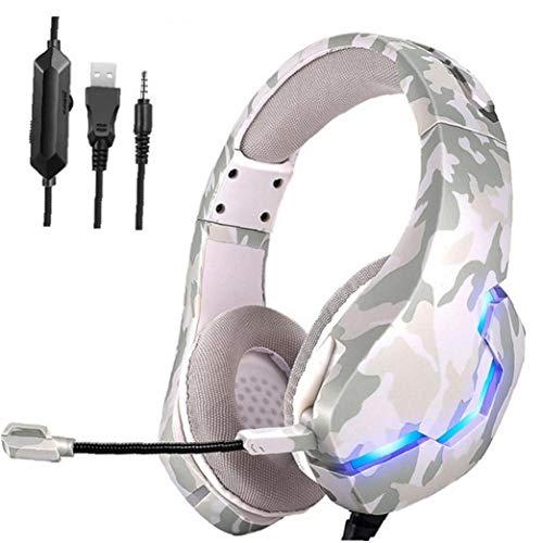 Berrywho Auricular para Juegos con Cable Largo de los Auriculares luz RGB...