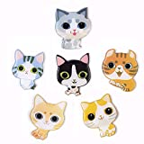 MORCART Cute Cartoon Cat Fridge Magnets - 6 PCS Refrigerator Magnets Set Office Magnets Calendar Magnets Whiteboard Magnets Christmas Magnets Decorative Magnets