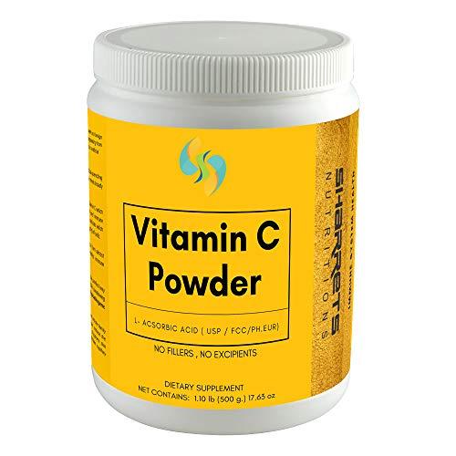 Sharrets Vitamin C Powder L Ascorbic acid for Immunity Drinking Face Serum Skin DIY, Produce in Scotland (UK) 500g, USP/FCC/Ph.Eur - Vegan, Non GMO Gluten Free Halal Certified