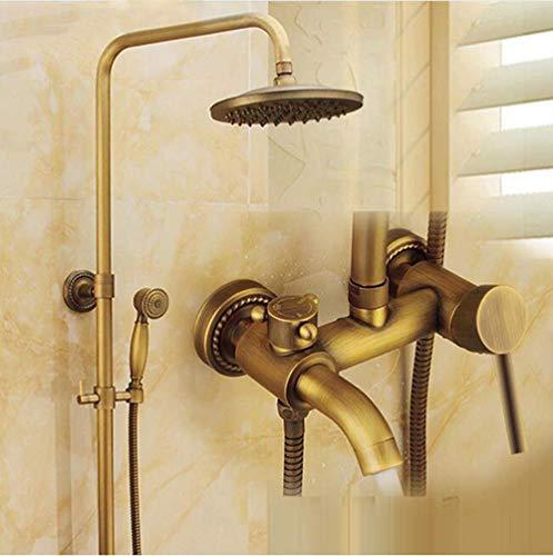 W-SHTAO L-WSWS - Juego de ducha de latón antiguo con grifo de ducha (8 pulgadas, cabezal de ducha de mano + manguera