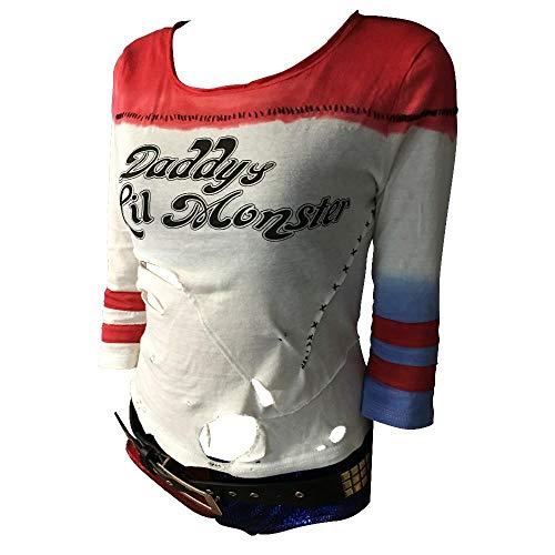 NiQiShangMao S-uicide S-Quad Har-Ley Q-uinn Kostüm-T-Shirt Papas L-il Monster-T-Shirt Cosplay-Kostüme mit Loch