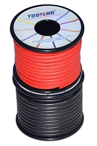 TUOFENG 12 gauge Silikon-Draht 20 Meter [10 m Schwarz und 10 m Rot] 12-AWG-Elektrokabel zum Einhaken des Drahtkabels Weich und flexibel aus verzinntem Kupferdraht Hohe Temperaturbeständigkeit