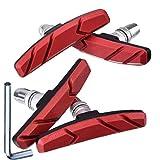 2 Paar V Fahrrad Bremsbeläge mit Sechskantmuttern und Distanzstücken V Fahrrad Bremsblöcke Set 70 mm (Rot)