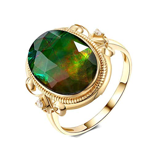 Rubyia Promise Ring Gold 18k 2.95ct Colorful Ammolite with Vine Oval Size T½