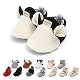 Ohwawadi Infant Baby Slippers Cozy Fleece Boys Girls Booties Soft Bottom Warm Cartoon Socks Newborn Crib Shoes (0-6 Months, A-White)