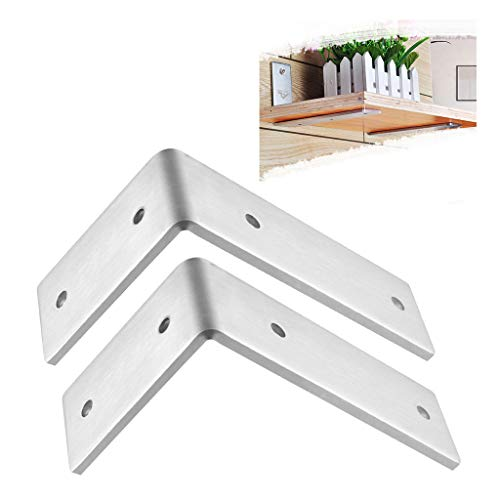 Brede hoek Brace gezamenlijke hoek plank steun muur hangen, Heavy Duty 304 roestvrij staal geborstelde afwerking - Hang een boekenplank of industriële planken - L plank ondersteunt met schroeven 2 stuks