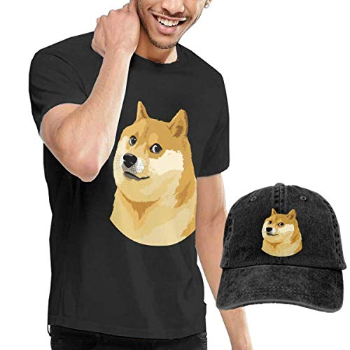 BAQQC Herren Kurzarmshirt Doge Head Funny Fashion Men's T-Shirt and Hats Youth & Adult T-Shirts