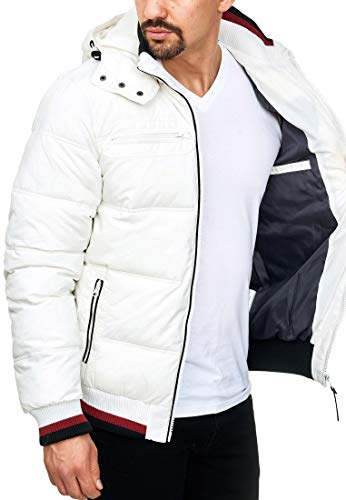 Indicode Herren Marlon Steppjacke in Daunenjacken-Optik mit Abnehmbarer Kapuze | warme Winterjacke gefütterte Übergangsjacke Regenjacke mit 6 Taschen Jacke für Männer Optical White M