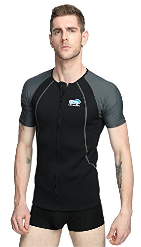 Lemorecn Wetsuits 1.5mm Neoprene Rash Guard for Men and Women Scuba Diving Short Sleeve Shirt(2067blackgrey-2XL)