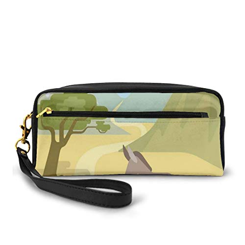 Pencil Case Pen Bag Pouch Stationary,Flat Design Habitat with A Donkey in The Mountains Wildlife Zoo Animals Cartoon,Small Makeup Bag Coin Purse