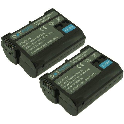 2 x Nikon EN-EL15 PREMIUM Dot.Foto Batería de Reemplazo - 7.0V/1900mAh - Garantía de 2 años [Vea compatibilidad en la descripción]
