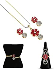 YouBella Jewellery Set for Women Combo of Necklace Set with Earrings, Bracelet and Ring for Girls and Women (Red)