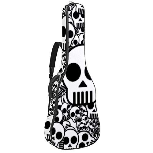 Bolsa de guitarra con correas para el hombro – Funda acolchada impermeable, bolsa de concierto para guitarra acústica y clásica, calavera de dibujos animados