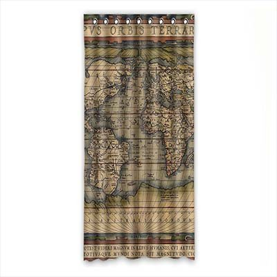 """dalliy Custom de mapa del mundo cortina de ventana poliéster 50""""x108sobre 127cm x 275cm, (One Piece), poliuretano, D, 50"""" x 108"""""""
