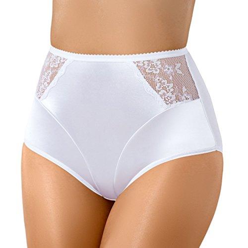 Bauchweg Unterwäsche Damen Miederslip mit Bauch-Weg-Effekt Shapewear Stark Formend Miederhose Slip Hochzeitsdessous Große Größen (M, Weiß)