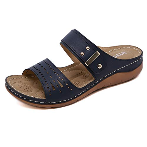 Dorical Damen Mode Sandalen Strass Flip Flops Sommer Pantoffeln Mit Keilabsatz,Zehentrenner Pantoffeln Slippers Schlappen für Frauen Übergroß 35-41 EU(Z3-Blau,41 EU)