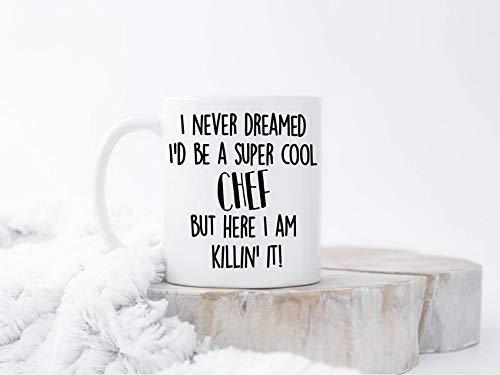 Tazas de café divertidas de chef, taza de café de chef, regalo de chef tazas de chef, regalo para chef, regalos divertidos de chef, taza de cocinero, taza de cocinero, taza de cocina, para hombres culinarios, mujeres, amantes, familia, jefes, amigos, taza de té, 325 ml, color blanco