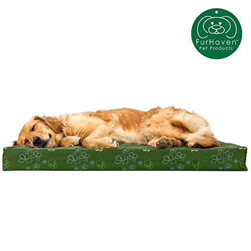 Furhaven Pet Dog Bed   Deluxe Orthopedic Mat Water-Resistant Indoor/Outdoor Garden Print Traditional Foam Mattress Pet Bed w/ Removable Cover for Dogs & Cats, Jungle Green, Large