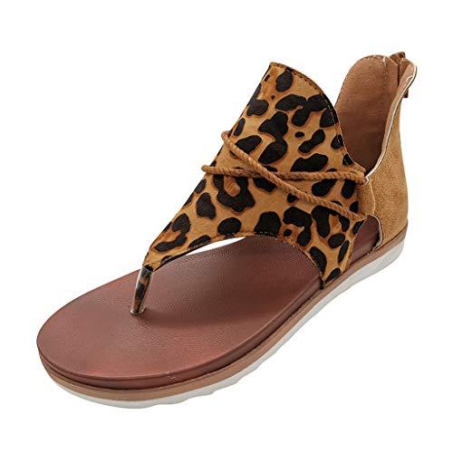 LHWY Sandalias Mujer Verano Retro Romana Planas Antideslizantes Chanclas Casual Suela Blanda Zapatos de Playa (40EU, Amarillo)