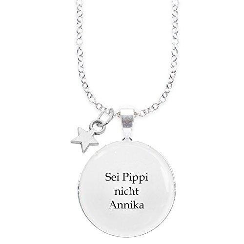 Spruchketten BY LIEBLICHKEITEN Nickelfreie Kette 80 cm mit Anhänger Spruch in 2,5cm großer Glaslinse: Sei Pippi Nicht Annika