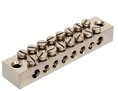 K M Electronics® 8-Wege-Erdungsklemmen-Anschlussklemme aus massivem Messing, galvanisiert, vernickelt