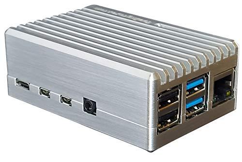MANOUII Raspberry Pi 4 passiv Alu Metall Gehäuse Case kein Lüfter geschlossen Aluminium Kodi Retropie