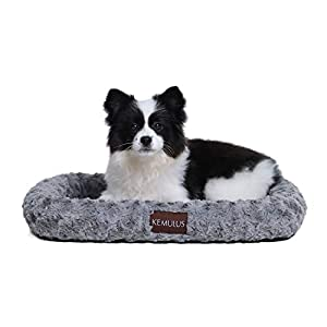 KEMULUS Large Medium Small 35″/28″/20″ Padded Bolster Dog Crate Mat Self Warming Dog Pillow Bed Sleeping Kennel Pads Anti Slip Washable Pet Crate Pads for Cats and Dogs