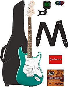 Fender Squier Affinity Stratocaster HSS Guitar - Race Green Bundle with Gig Bag, Tuner, Strap, Picks, and Austin Bazaar Instructional DVD