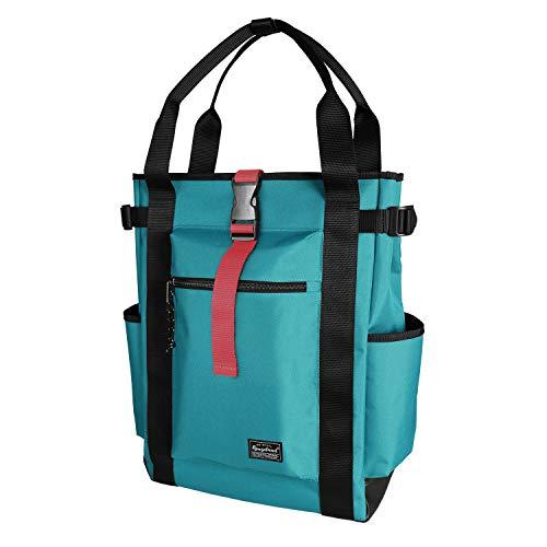 Rangeland Unisex Laptop Tote Backpack (Blue Green) Sturdy Polyester Shoulder Bag with Multiple Pockets for Work Travel Gym College School, 18L
