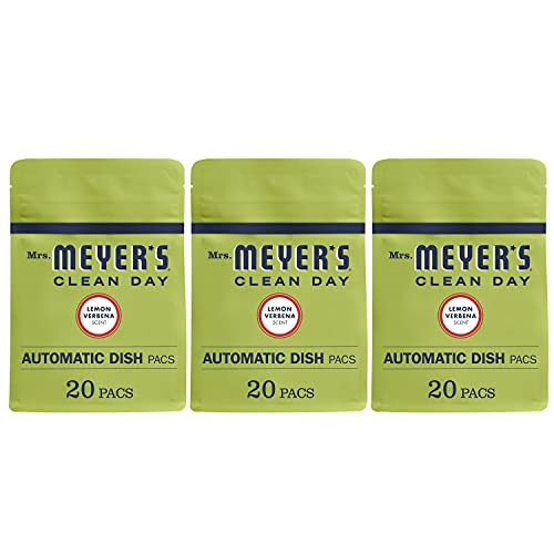 Mrs. Meyer s Clean Day Automatic Dishwasher Pods, Cruelty Free Formula Dish Soap Tablets, Lemon Verbena Scent, 20 Count - Pack of 3 (60 Total Pods)