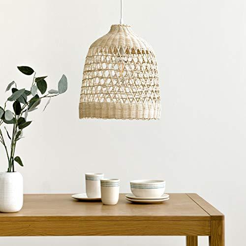 Kenay Home-Lámpara De Techo Salón Comedor Cocina Ratan Bell, 33x33x42,5cm (WxDxH)