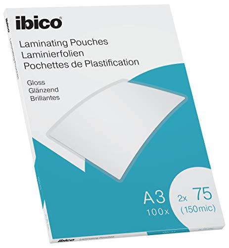 Ibico Láminas para Plastificar Tamaño A3, Acabado Brillante, 150 Micras, Pack de 100, Transparentes, 627319