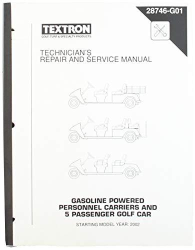 EZGO 28746G01 2002 Manual de reparación y Servicio técnico para Portador de Personal de Gas y 5 Coches…