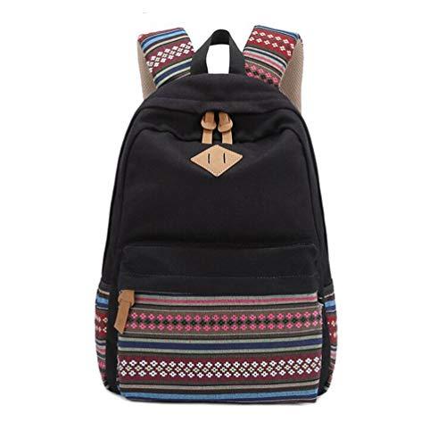S-ZONE Aztekischer Stamm Rucksack Vintage Canvas Schulrucksack 14-15 Inch Laptop Schultertasche Leichte Schulranzen Outdoor Camping Picknick Ausflug Sports Universität für Jugend Teenager Mädchen