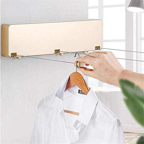 JIANGXIUQIN Retractable Clothesline 3-Line Retractable Clothesline Wall Mounted Laundry Hanger Retractable Clothes Hanger Outdoor Indoor Clothes Line Dryer Laundry Indoor Outdoor