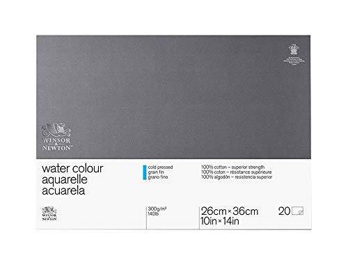 Winsor&Newton - Blocco Grana Fina - 25.4 X 35.6Cm - Incollato 4 Lati - 20 Fogli - 300G