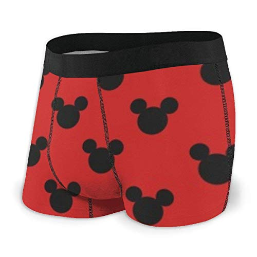 DWEO0JDWK Mickey Mouse Avatar On Red Background Herren Cotton Boxershorts 2 Pack-Medium Black
