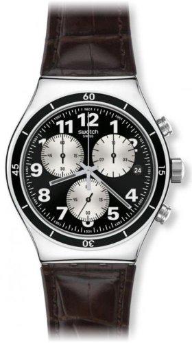 Swatch YVS400 - Reloj cronógrafo de Cuarzo para Hombre con Correa de Piel, Color marrón