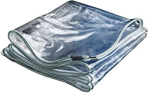 Transparente PVC impermeable Tarpaulin espesado Protección de lluvia Tarp Soft Plastic Balcony Cortina de lluvia Cortina de sol Protección solar Tarp con ojales 350GSM Paño de sombra y dosel