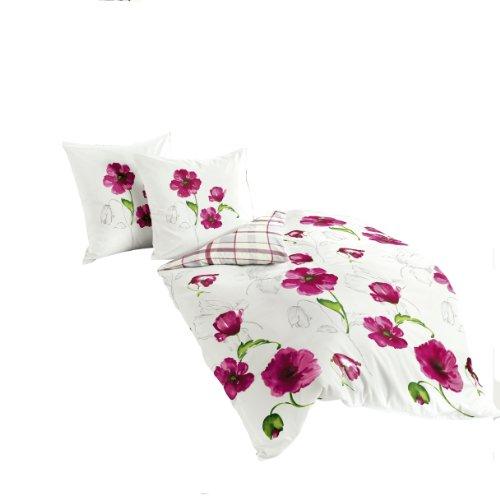 Bierbaum Bettwäsche 6404, Mako-Satin, Made in Germany, pink 01, 200x200 + 2x 80x80 cm, für das Doppelbett