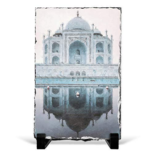 The Taj Mahal in Agra India Abstract Art Contemporary Design - Slate Rock Picture Frame Home Décor Ornament 20x15 cm