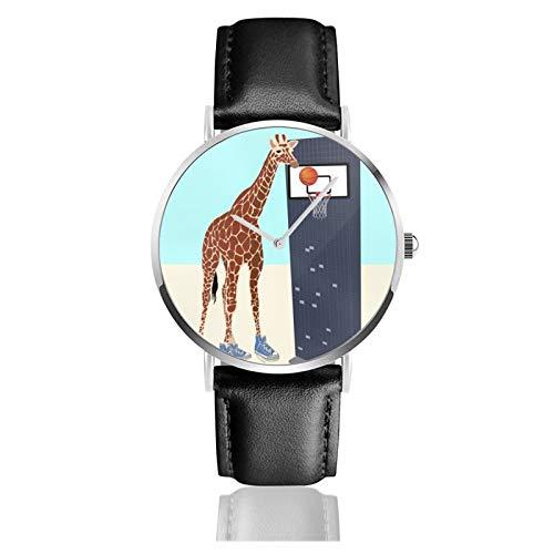 Nuevo jugador de baloncesto en el barrio reloj de cuarzo movimiento impermeable correa de reloj de cuero para hombres mujeres simple negocios casual reloj
