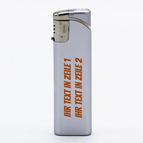 printplanet® - Feuerzeug Set mit eigenem Text Bedrucken - personalisiertes Gasfeuerzeug-Set mit Wunschtext - 5 Stück - Silber